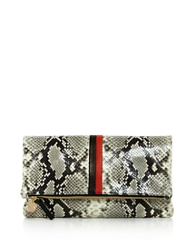Clare V. - Striped Python Foldover Clutch