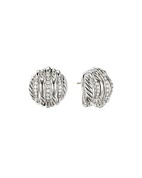 David Yurman - Tides Stud Earrings in Sterling Silver with Diamonds