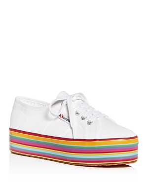 Superga WOMEN'S COTU CLASSIC LOW-TOP STRIPED PLATFORM SNEAKERS