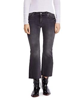 Free People - Rita Raw-Edge Cropped Flared Jeans in Black