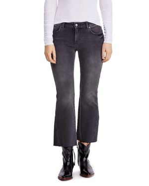 Free People Rita Raw-Edge Cropped Flared Jeans in Black