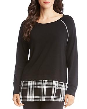 Karen Kane Sweatshirts PLAID-HEM SWEATSHIRT