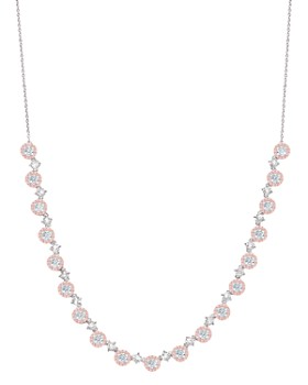 """Crislu - Fiore Half Tennis Necklace in Platinum-Plated Sterling Silver or 18K Rose Gold-Plated Sterling Silver, 18"""""""