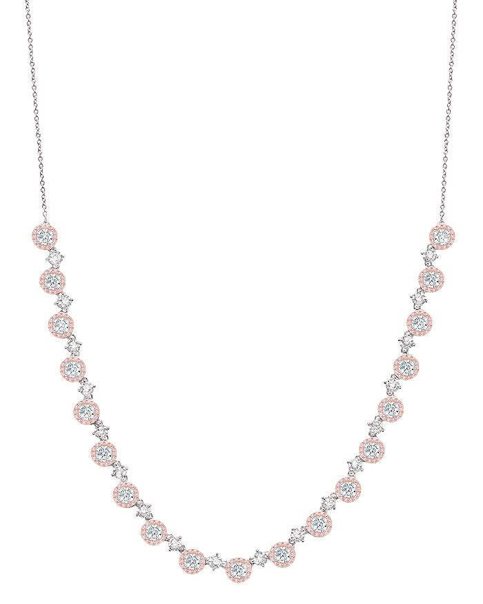 Crislu - Fiore Half Tennis Necklace in Platinum-Plated Sterling Silver or 18K Rose Gold-Plated Sterling Silver, 18""