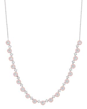 CRISLU Fiore Half Tennis Necklace In Platinum-Plated Sterling Silver Or 18K Rose Gold-Plated Sterling Silve in Pink/Silver