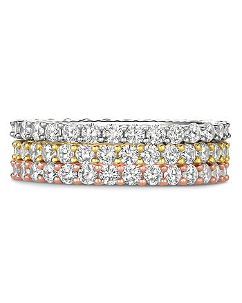 Crislu - Three-Tone Crystal Stackable Rings in Platinum-Plated Sterling Silver, 18K Gold-Plated Sterling Silver or 18K Rose Gold-Plated Sterling Silver, Set of 3