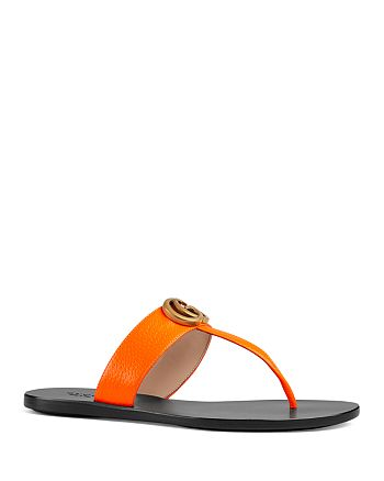 Gucci - Women's Marmont Double G Leather Thong Sandals