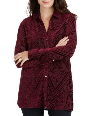 Foxcroft Jade Flocked Velvet Shirt