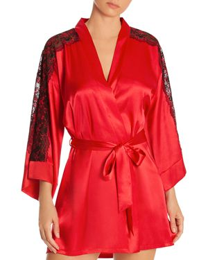 In Bloom by Jonquil Lace-Inset Satin Wrap Robe