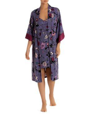 MIDNIGHT BAKERY Satin Floral-Print Midi Robe in Black