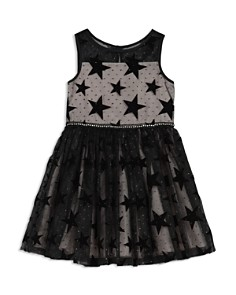 Pippa & Julie - Girls' Mesh Glitter Velvet-Star Dress - Little Kid
