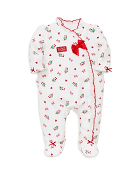 Little Me - Girls' My First Christmas Velour Candy Cane Footie - Baby