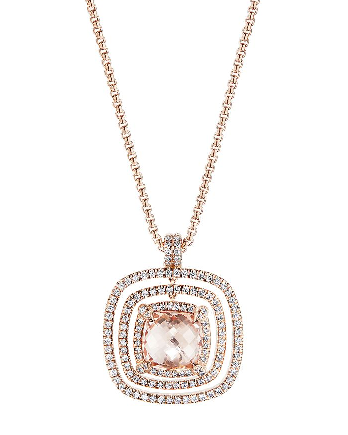 """David Yurman - Châtelaine®  Pavé Bezel Necklace in 18K Rose Gold with Morganite and Diamonds, 36"""""""