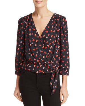 Rayla Printed 3/4-Sleeve Wrap Top in Tulip Red