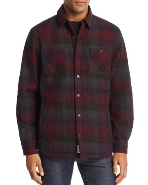 FLAG & ANTHEM Barnet Sherpa-Lined Shirt Jacket in Red/Gray Plaid