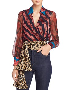 Alice and Olivia - Omega Mixed-Print Cropped Wrap Top
