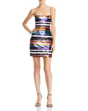 LIKELY Braelynn Sequined Multicolor Sheath Dress in Black Multi
