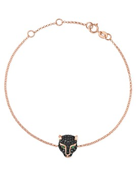 Bloomingdale's - Black Diamond & Emerald Panther Bracelet in 14K Rose Gold - 100% Exclusive