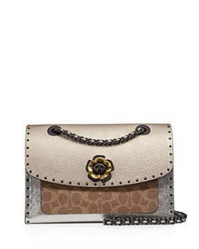 b68bf491c4c COACH - Parker Mixed Media Studded Shoulder Bag ...