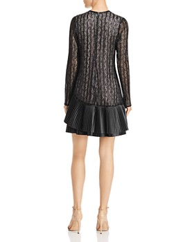 Nha Khanh - Faux-Leather-Trimmed Lace Dress