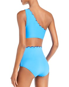 kate spade new york - Contrast Scalloped One Shoulder Bikini Top & Contrast Scalloped High Waist Bikini Bottom