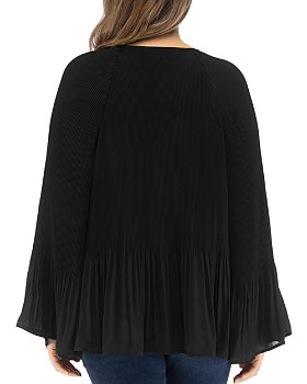 B Collection by Bobeau Curvy - Ivanna Pleated Tie-Neck Top