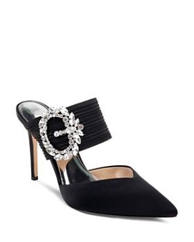 Badgley Mischka - Women's Fancy Crystal Buckle High-Heel Mules