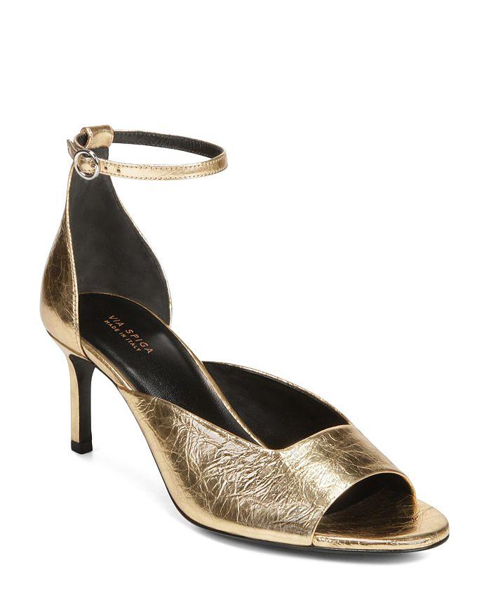 4316ec8c9a3 Via Spiga - Women s Jennie Metallic Kitten Heel Sandals