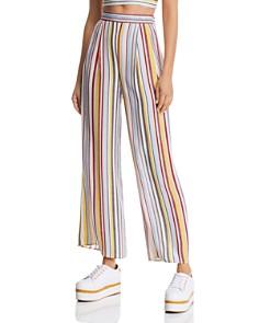 AQUA - Striped Wide-Leg Pants - 100% Exclusive