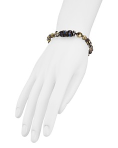 Chan Luu - Faceted Stone Slider Bracelet in Sterling Silver and Plated Sterling Silver