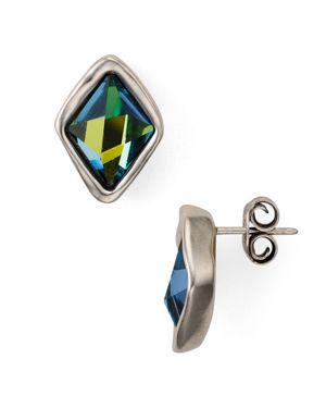UNO DE 50 Uno De 50 Stalagmite Faceted Crystal Stud Earrings in Silver