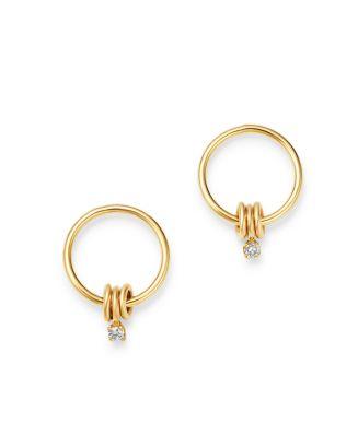 14 K Yellow Gold Diamond Small Circle Drop Earrings by Zoë Chicco