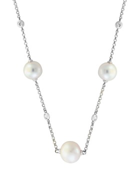"Bloomingdale's - Freshwater Pearl & Diamond Station Necklace in 14K White Gold, 18"" - 100% Exclusive"