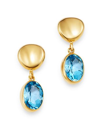 Bloomingdale's - Blue Topaz Oval Drop Earrings in 14K Yellow Gold - 100% Exclusive