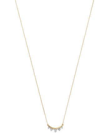 "Adina Reyter - 14K Yellow Gold Amigos Five Diamond Curve Necklace, 16"""