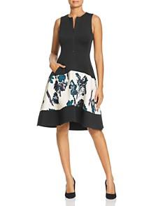 Donna Karan - Floral Paneled Scuba Dress