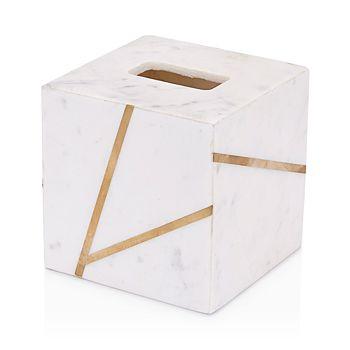 Kassatex - Marble Brass Tissue Box Cover