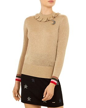 ef2a1851aae20c Ted Baker - Colour By Numbers Hawen Metallic Knit Frill Neck Top ...
