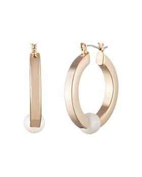 Ralph Lauren - Simulated Pearl Hoop Earrings