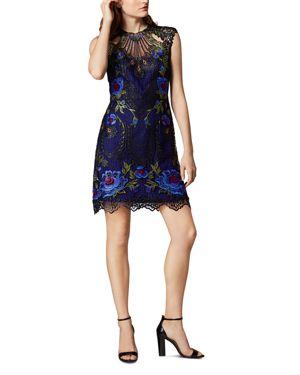 KAREN MILLEN Floral Embroidered Lace Dress in Multicolor