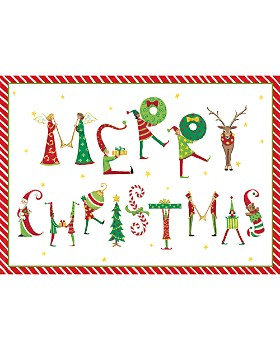 Caspari - Merry Christmas Figures Christmas Cards, Box of 16