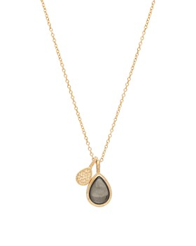 """Anna Beck - Pyrite Double Drop Pendant Necklace in 18K Gold-Plated Sterling Silver, 16"""""""