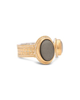 Anna Beck - Mother of Pearl & Smoky Pyrite Cocktail Ring in 18K Gold-Plated Sterling Silver