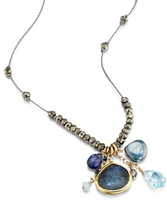 """Ela Rae - Sylvie Stone Cluster Pendant Necklace in 14K Gold-Plated Sterling Silver, 26"""""""