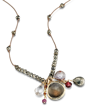 Ela Rae Sylvie Stone Cluster Pendant Necklace in 14K Gold-Plated Sterling Silver, 26