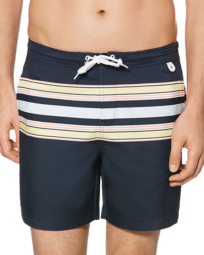 00265821a4 Original Penguin Retro Stripe-Print Swim Trunks | Bloomingdale's