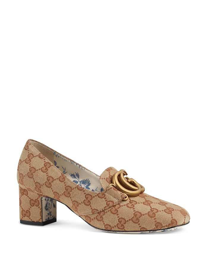 Gucci - Women's Victoire Round Toe Canvas Mid-Heel Pumps