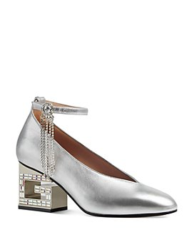 Gucci - Women's Amber Square-Toe Metallic Leather Mid-Heel Pumps