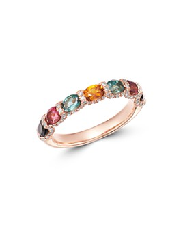 Bloomingdale's - Rainbow Tourmaline & Diamond Band in 14K Rose Gold - 100% Exclusive