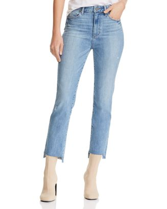 Hoxton High Rise Straight Jeans In Zyra Destructed   100 Percents Exclusive by Paige